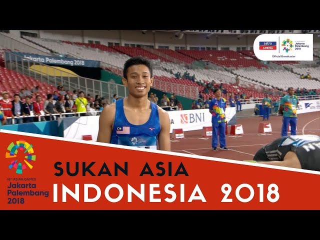 Sukan Asia Indonesia: Olahraga | 100M | Lelaki | Separuh Akhir | Hafiz Jantan | Astro Arena