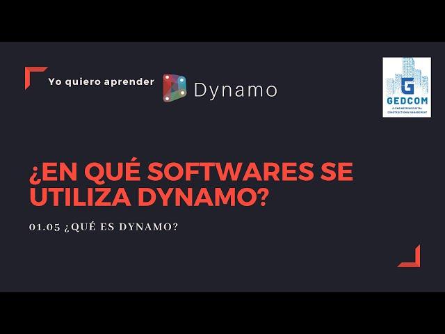 Introducción a Dynamo | 01-05-¿En que softwares se utiliza Dynamo?