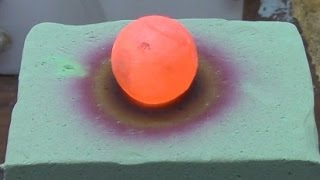 A red hot nickel ball placed on floral foam sent in by Jonathan. WA...