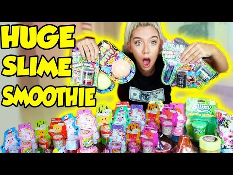 MIXING ALL MY STORE BOUGHT SLIMES!! GIANT SLIME SMOOTHIE! SATISFYING SLIME