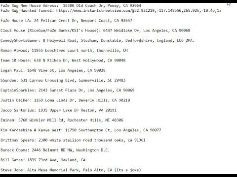 17 Celebritys Addresses Leaked Faze Rug Ksi Justin Beiber
