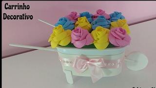 Diy – Carrinho De Mão com Rosas Estilo Provençal Feito com Pote de Margarina e EVA