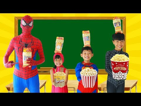 Thumbnail: Spiderman Learn color with POPCORN w/ Superman tripped Frozen Elsa Paint Broom Heroes School Color