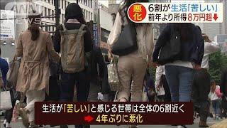 """""""生活苦しい""""が6割 前年より所得8万6000円減少(19/07/02)"""
