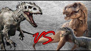 Indominus Rex vs Tyrannosaurus Rex & Velociraptor