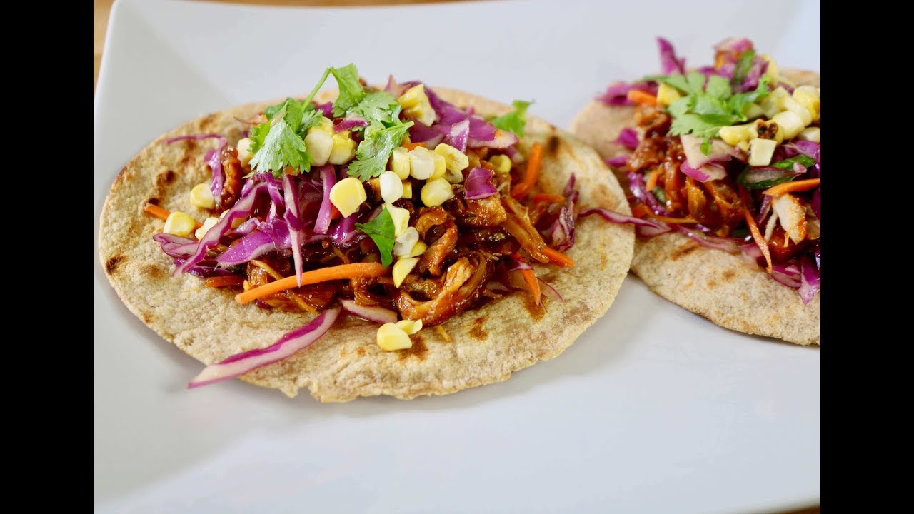 Bbq Pulled Chicken Taco W An Asian Slaw Youtube