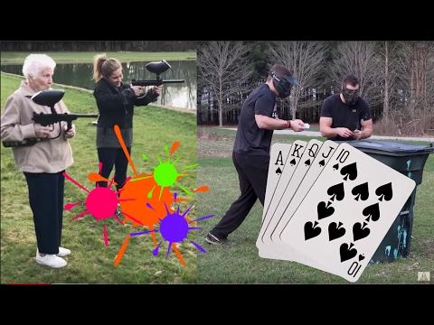 "PLAYING ""WAR"" DURING PAINTBALL WAR   Shawn Johnson & Grandma vs Ross Smith"