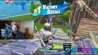 Ninja Gets First Win Wearing New Overtaker Skins & Whiteout Skins In Fortnite