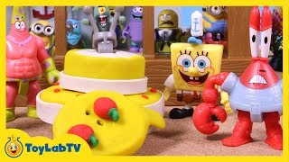 Mr. Krabs gets a Surprise Birthday Party at the Krusty Krab Playset, SpongeBob Toys from ToyLabTV