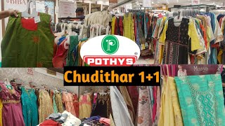 Pothys Chudithar material 1+1 2019#Latest Fancy  kurthi,Chudithar,Dress silk sale#T.Nagar#Tamil