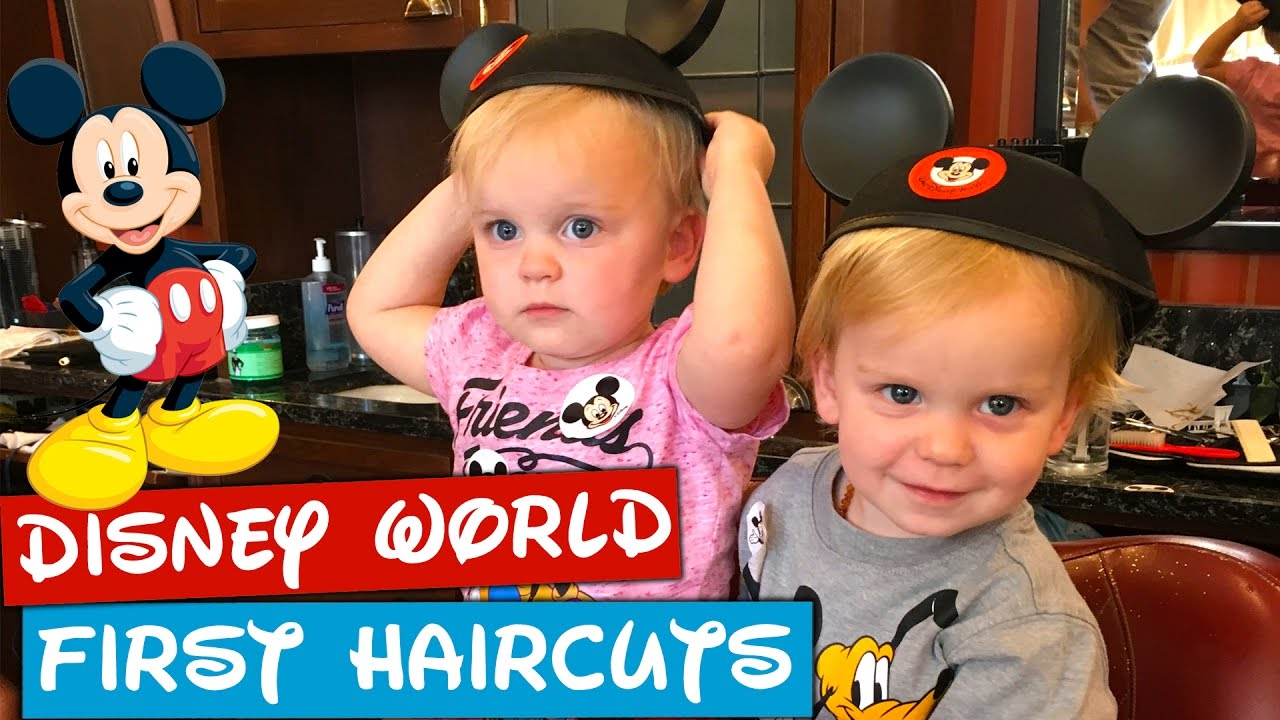 Twins First Haircut At Harmony Barber Shop In Disney World