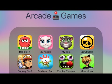Red Ball 4,My Talking Angela,Talking Tom,Brawl Stars,Subway Surfer,Om Nom Run,Zombie Tsunami,LadyBug