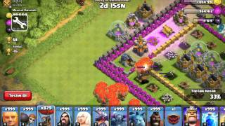 Clash of clans . X mode attack ..999 Baloons