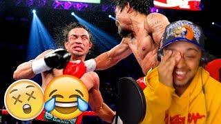 THIS IS THE FUNNIEST SHIT IVE SEEN!!!  MANNY PACQUIAO VS COCKY BOXERS REACTION