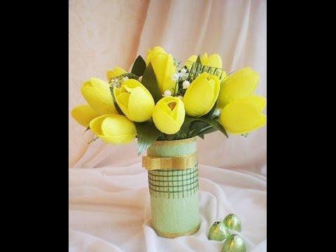 Hướng dẫn làm hoa Tuy-lip giấy nhún đơn giản - How to make paper Tuylip - simple?