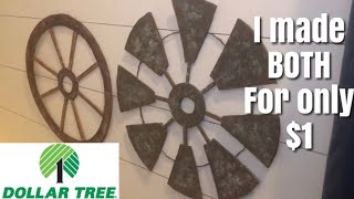 DOLLAR TREE FARMHOUSE DIY || WINDMILL AND WAGON WHEEL DECOR