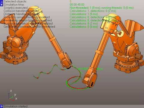 Robot Simulator: Industrial Robots Following a Path in V-REP