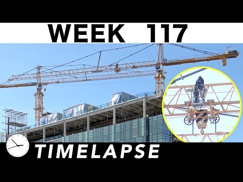 Construction time-lapse with 31 closeups: Week 117: Curtain wall glass extravaganza; Tower cranes