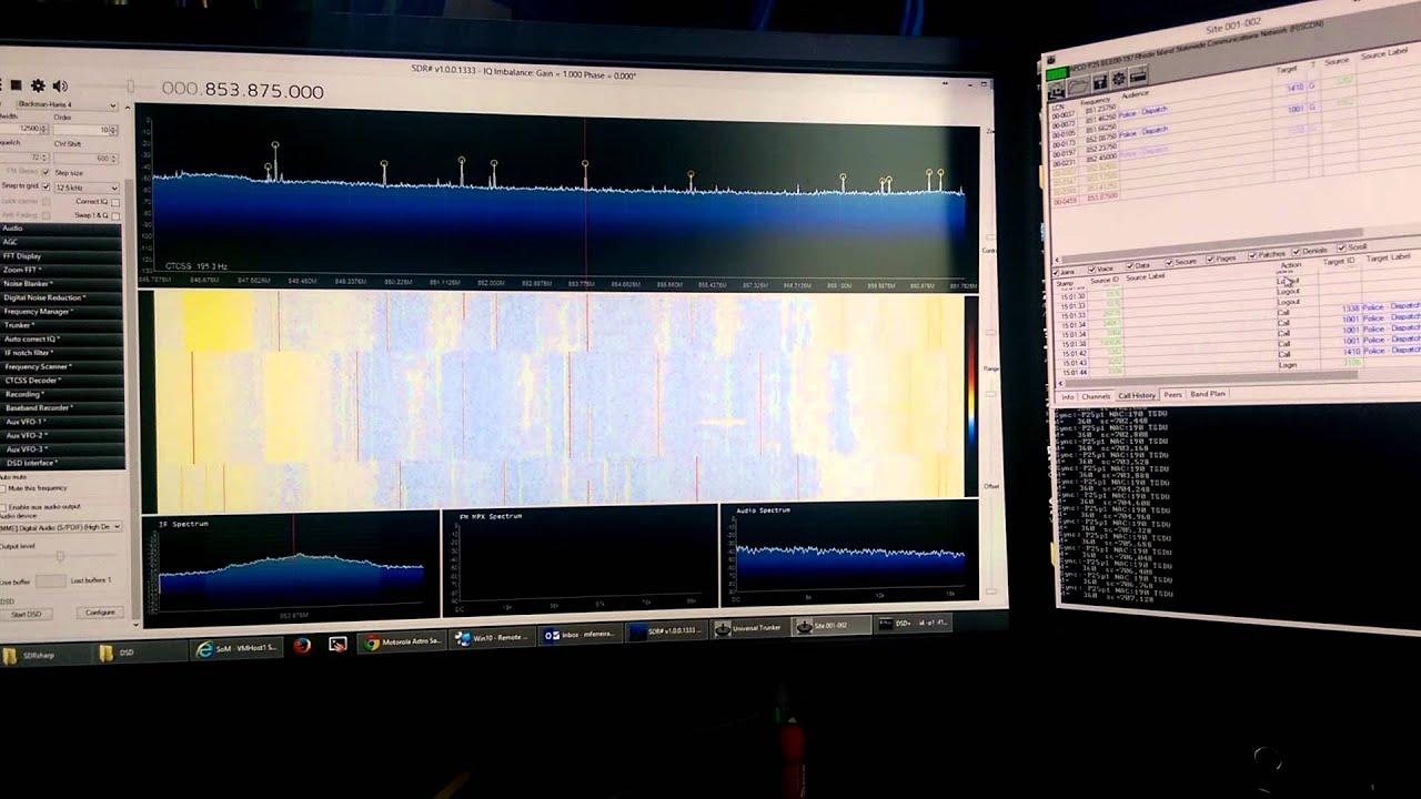 Single HackRF with SDRSharp, Unitrunker and DSD decoding P25