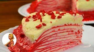 Красный бархат БЛИННЫЙ ТОРТ ❤ Пошаговый рецепт  Готовить просто с Люсьеной