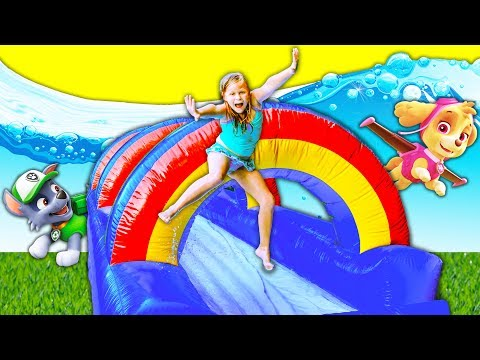 PAW PATROL Slip n Slide Inflatable Bounce House Assistant Finds PJ MASKS And Paw Patrol Funny Video