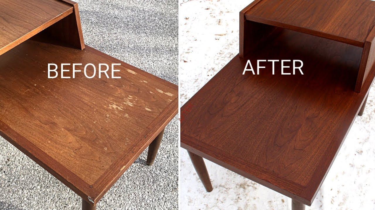 Refinishing A Garage Mid Century Modern End Table