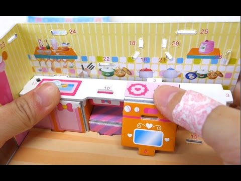 Dollhouse paper Origami toys Refrigerator, microwave, table, dining