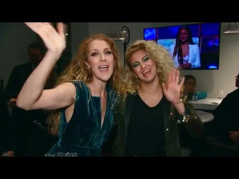 Celine Dion and Tori Kelly - Stayin Alive: A GRAMMY Salute To The Music Of The Bee Gees (backstage)