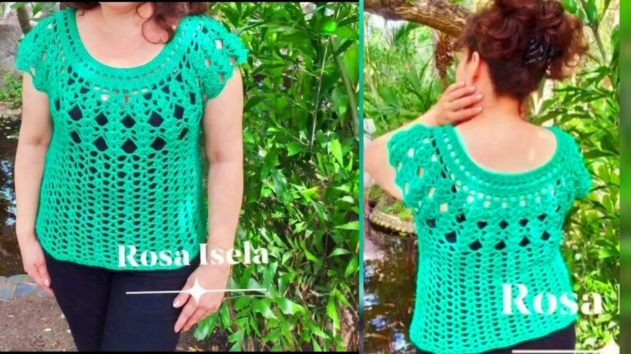 55162d74b Blusa Esmeralda muy fácil a crochet - YouTube