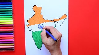 How to draw and color India map in flag colors
