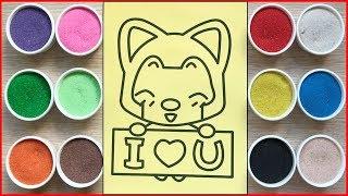 Đồ chơi trẻ em TÔ MÀU TRANH CÁT CON CÁO I LOVE YOU - Colored sand painting toys (Chim Xinh)