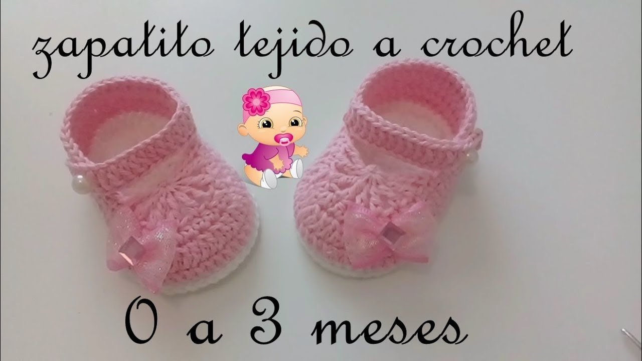 zapatitos tejidos a crochet -bebe-modelo yara- - YouTube