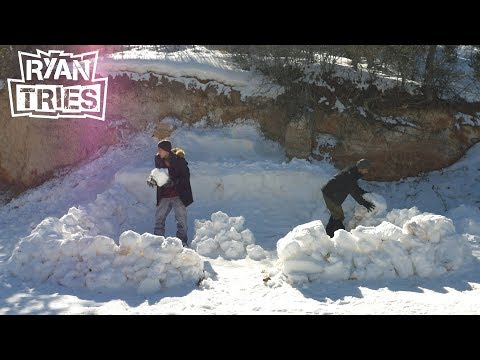 Ryan Tries: Primitive Building - EPIC SNOW FORT