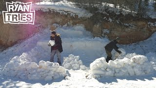 Download Ryan Tries: Primitive Building - EPIC SNOW FORT Mp3 and Videos