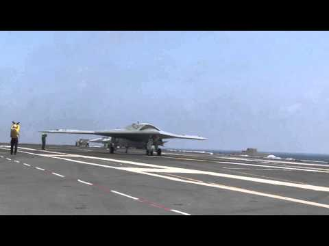 X-47B UCAS-D & F/A-18 combined operations onboard USS Theodo