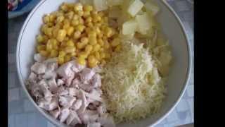 Салат с курицей, кукурузой и ананасами  видео