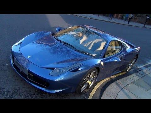 Gorgeous SPARKLING Blue Ferrari 458 Italia - Start up and shots in London