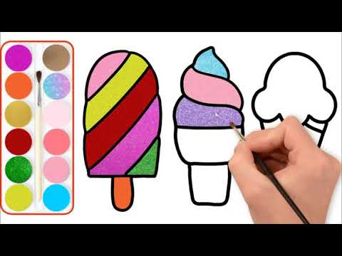Glitter ice cream drawing and coloring pages for kids | Dondurma Boyama Sayfası