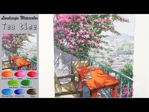 여행: 티 타임 - 풍경수채화 그리기 [남일 수채화] Tea time - Drawing Landscape watercolor