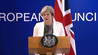 Theresa May Addresses Brexit Talks at European Council Summit