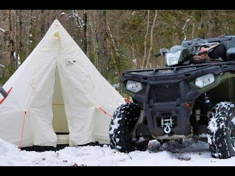 2 Days ATVing and Winter Camping  in a Canvas Tent with a Woodstove!