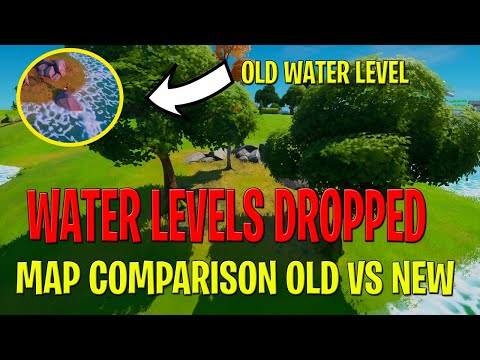 Fortnite Map Water Levels Dropped - Map Updated - Old Map Comparison VS New Map Changes - Salty BACK