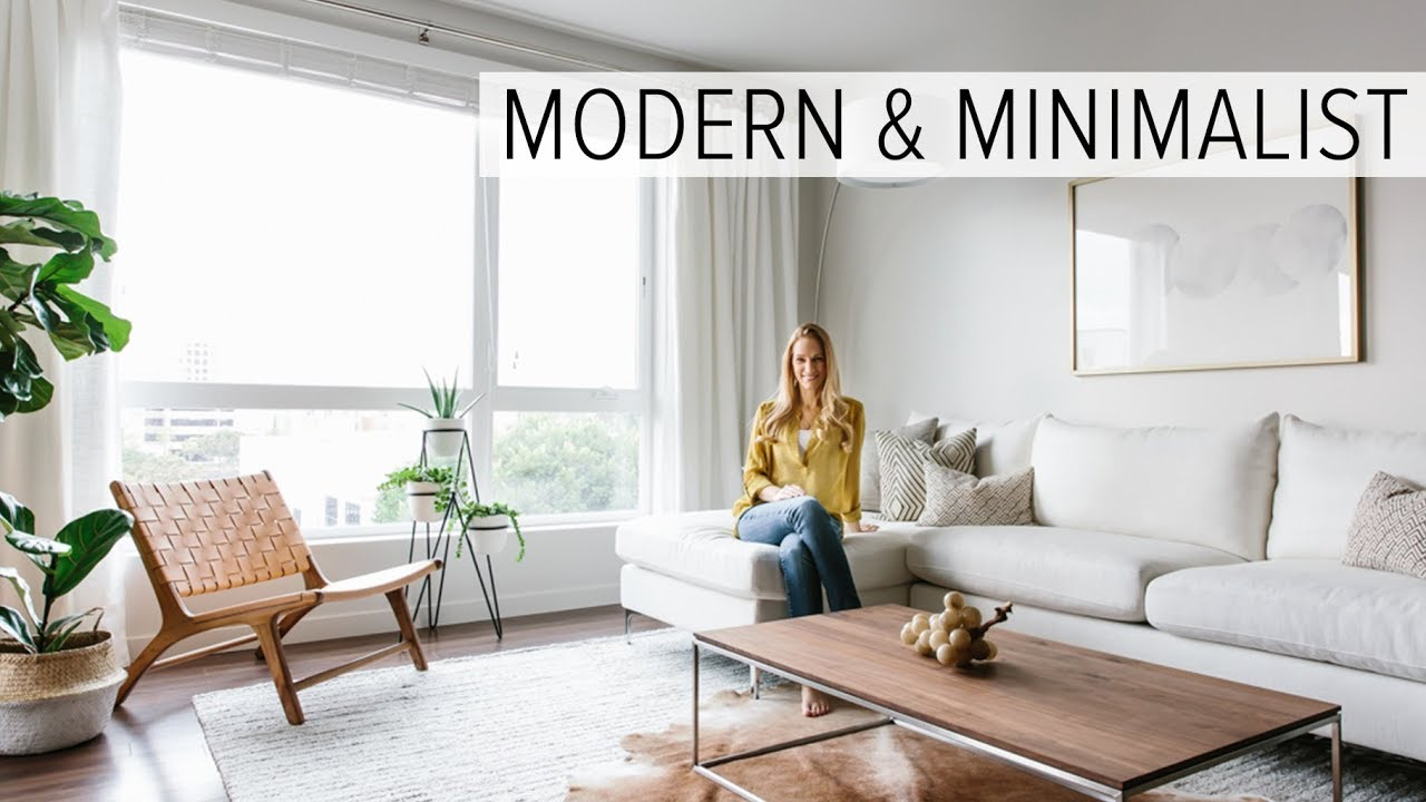 modern minimalist living room yellow grey curtains apartment tour my youtube