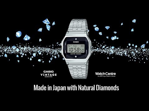 Casio A159WAD-1AV Vintage Silver Watch Natural Diamonds Review & Setting