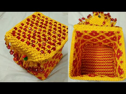 Macrame basket or box with lid part 1
