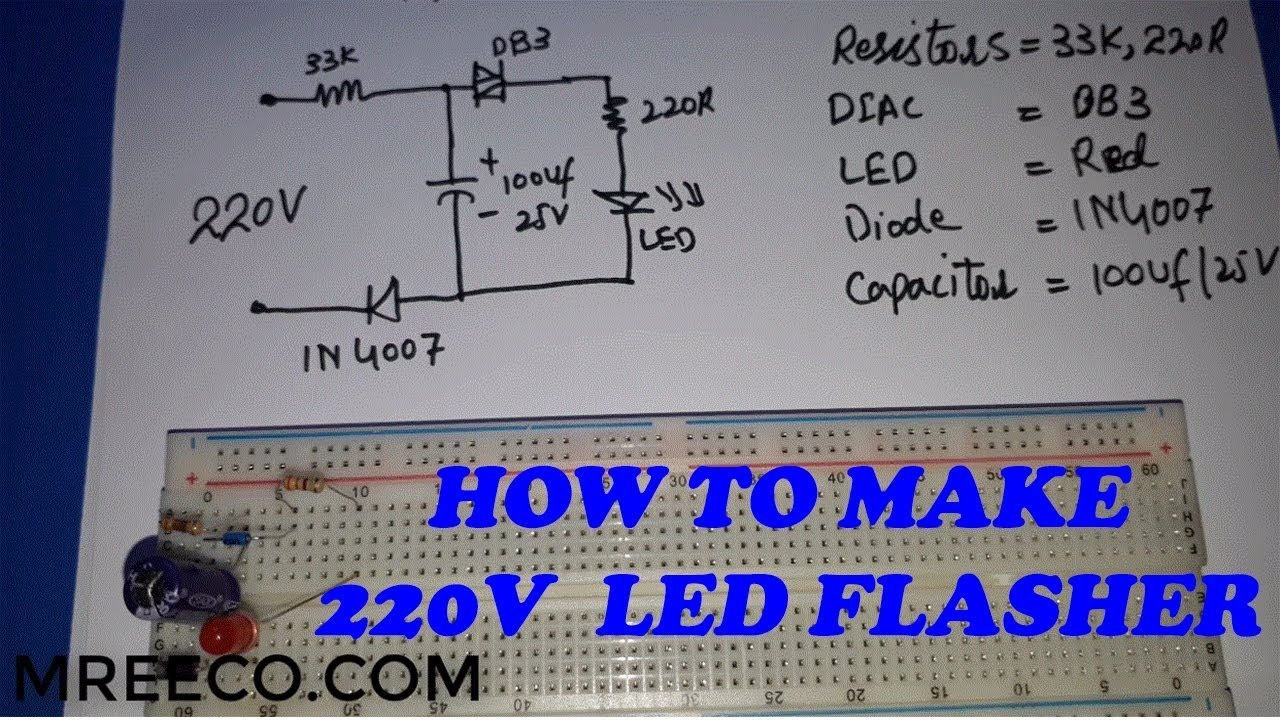 How To Make 220v Ac Led Flasher Blinker At Home In Urdu Hindi Mp3 Player Chaser Using 555 Timer Cd4017