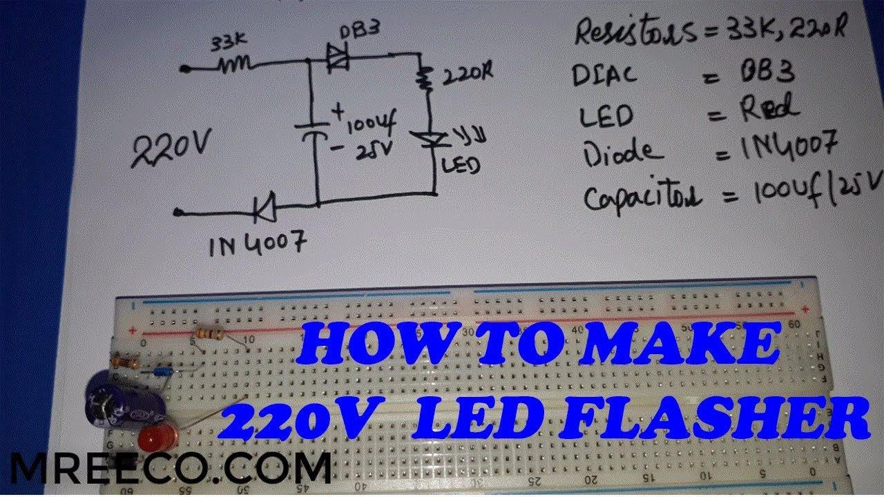 how to make 220v ac led flasher led blinker at home in urdu hindi 220v led blinker circuit schematic [ 1280 x 720 Pixel ]