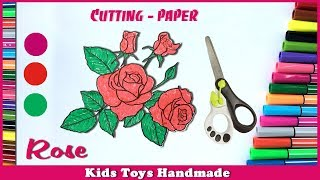 Rose - Cut flower painting after Drawing and Coloring | Cutting Art for Kids | Coloring pages