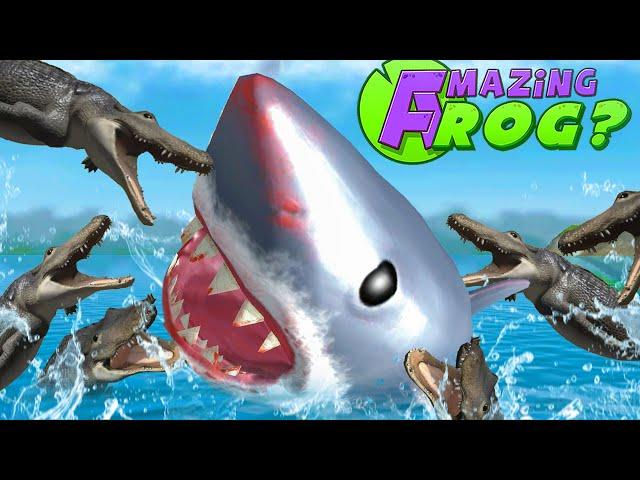 GIANT SHARK vs ALLIGATORS - Amazing Frog Part 176 | Pungence