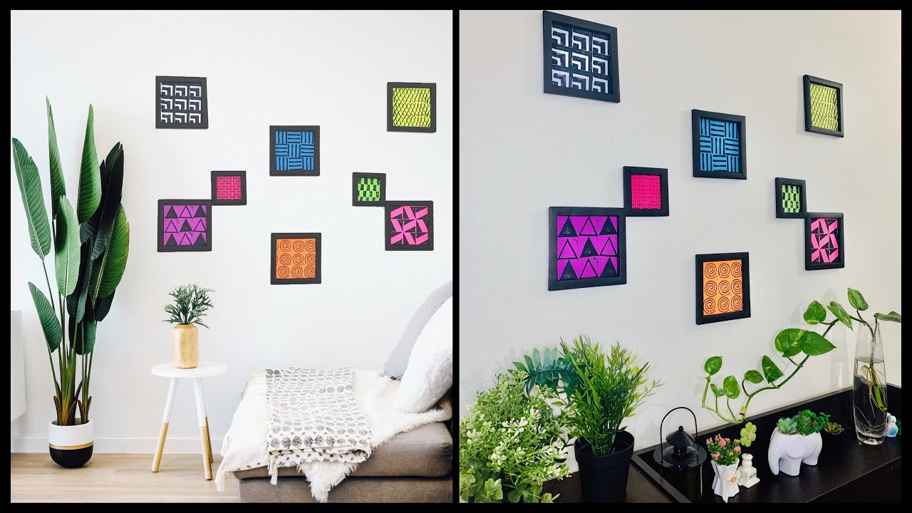 8 DIY Wall Art Using Handmade STAMPS & BOX Frame| gadac diy|Paper Crafts| Home Decorating Ideas